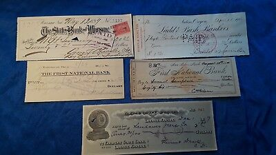 Bank Checks, Lot of old bank drafts from 1880, 1899, 1906, 1909, 1917 Cool stuff