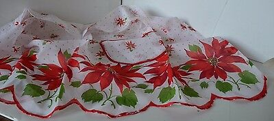 Vintage Poinsettia Flower  Apron Christmas Nylon Scallopped Pocket