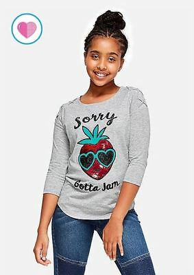 a5a98e0341 Justice Girls Strawberry Jam Flip Sequin Scented Lace Up Tee 6 7 12 14 16 18