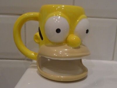 THE SIMPSONS Homer Simpson Ceramic Mug With Cookie / Biscuit Holder 2004 USED