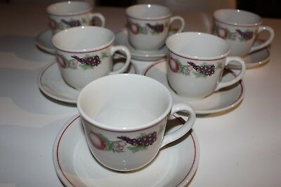 6 Boots 'Orchard' tea cups and saucers