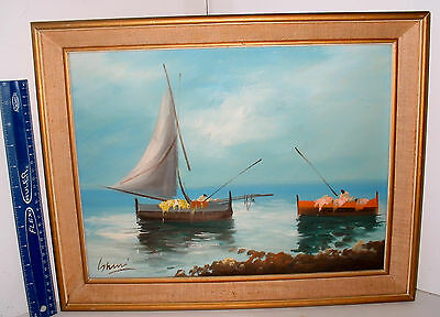 LP16 (O10) Lovely Vintage Sailboat Seaside Linen Mat Oil Painting Framed Signed