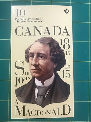 Canadian Stamps - 2015 SIR JOHN MACDONALD booklet of 10 PERMANENT STAMPS *NEW*