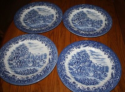 "4 Churchill Currier and Ives Harvest Dinner Plate 10.25"" Blue Transferware"