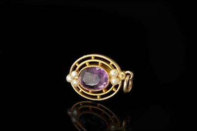 Antique Edwardian Amethyst Seed Pearl 10K Gold Pendant A72716