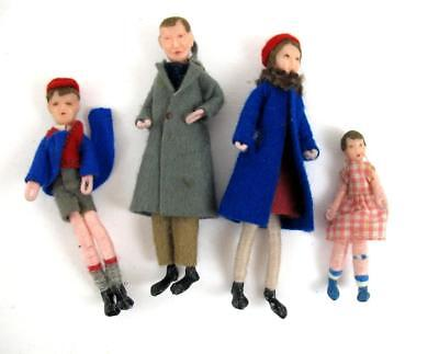 Vintage Dolls House Family of 4   Bending Arms Legs  Thread Legs