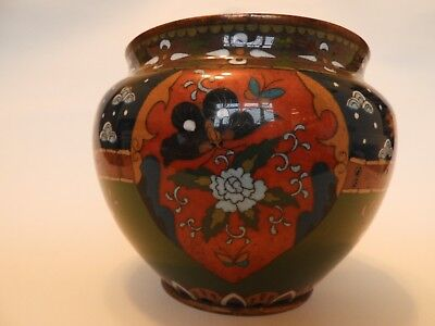 A late 19th century Japanese cloisonne jardinier  19cms (7.5ins) diameter