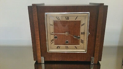 Art Deco Haller  Oak Cased  Large Westminster Chiming Mantle Clock / Working Ord
