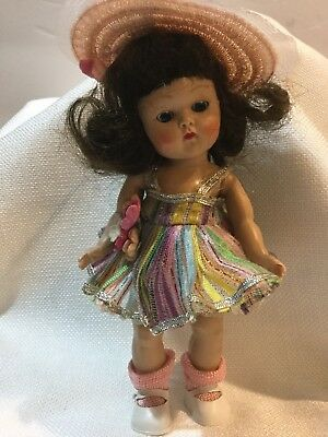 Nice Vintage Strung 1950's Vogue Ginny Doll In Tagged Dress