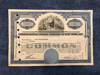 CONSOLIDATED EDISON CO Common Stock Less Than 100 Shares 1956-1958