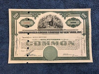 CONSOLIDATED EDISON CO Common Stock 100 Shares 1949-1950