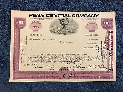 PENN CENTRAL CO Common Stock More Than 100 Shares 1971-1973
