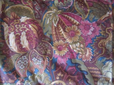 A Gorgeous  Pair Of Vintage French Lined Arts And Crafts Chintz Curtains