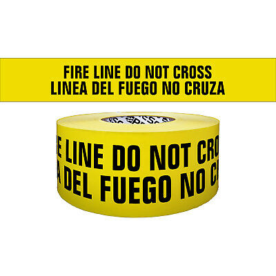 Presco Premium Printed Barricade Tape: 3 in. x 1000 ft. Yellow/Black FIRE LINE D