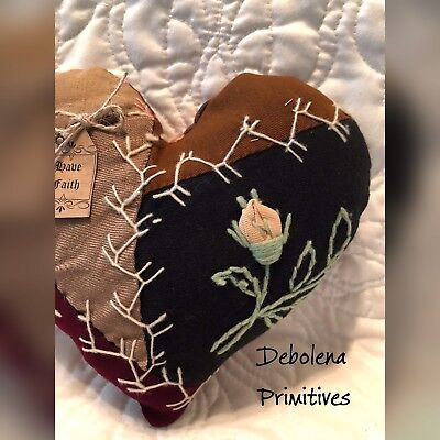 Primitive Heart 1880s Crazy Quilt Amazing Embroidery Pillow Tag: Have Faith