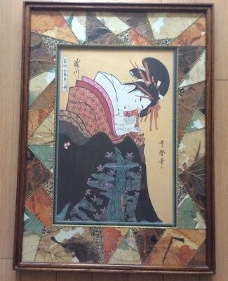 """Antique Japanese painting or print Art 24""""21"""