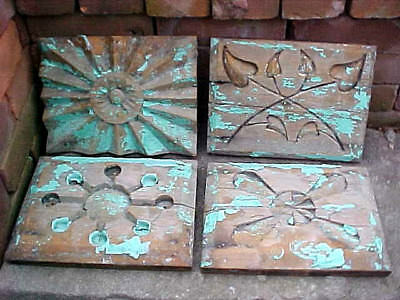 Antique Victorian Shabby Chic Weather Stressed Carved Wood Architectural Panels