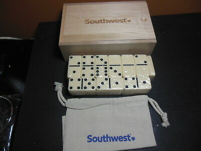 Southwest Airlines Domino Set Promo Wood Box Never Used Dominoes Sealed Dominoes