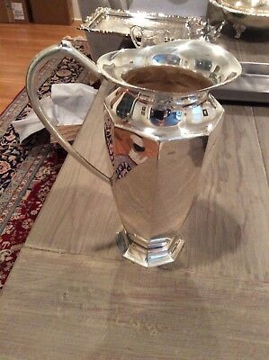 "Silver plated pitcher, 10"" tall, very good condition"