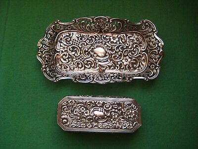 Antique English Repousse Sterling Silver Dresser Trinket Box  & Tray