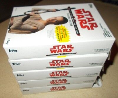 LOT of 5 2017 TOPPS STAR WARS JOURNEY TO THE LAST JEDI TRADING CARDS HANGER BOX