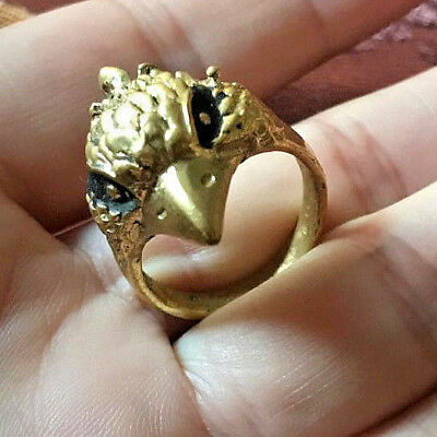rare ancient viking Bronze ring solid Bird HEAD SYMBOL VERY Stunning