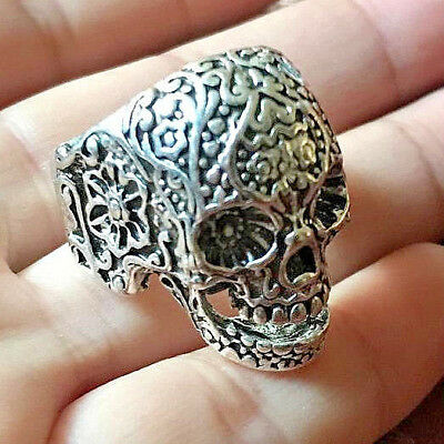 Huge RARE Ancient Viking Silver Skull Ring Artifact Museum Quality Very Stunning