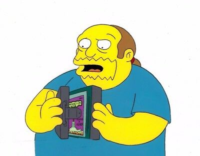 Simpsons Original Production Used Animation Cel Comic Book Guy Cert. of Auth.