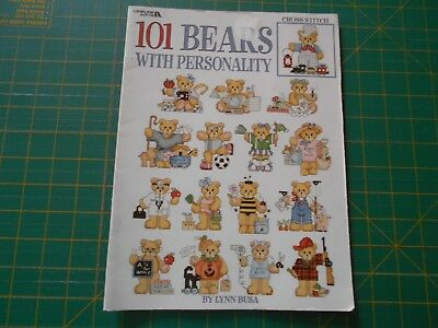 101 Bears With Personality Cross Stitch Book - Leisure Arts - Good Condition