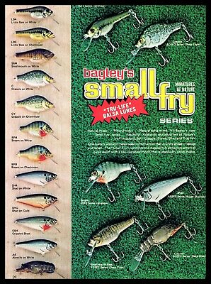 1979 Vintage Bagley Small Fry Old Fishing Lure Color Chart Original Print Ad A2