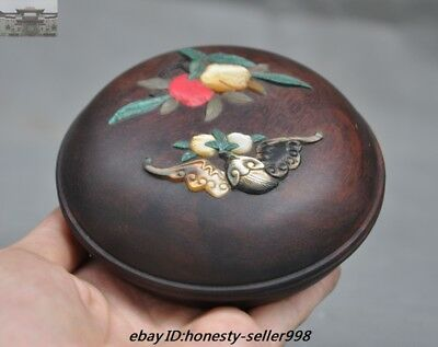Old Chinese Huanghuali Wood inlay Shell Turquoise coral Bat Peach Jewelry Box
