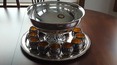 Vintage Sheridan Silver Plate Punch Bowl Set With Tray, Bowl, 12 Cups With Boxes