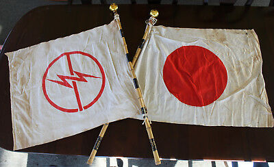 RARE SET Original WWII Captured Japanese Flags with Bamboo Poles and Sun Toppers