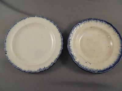 2 Old Antique Enoch Wood Etc Leeds Ware Blue Feather Edge Butter Pats
