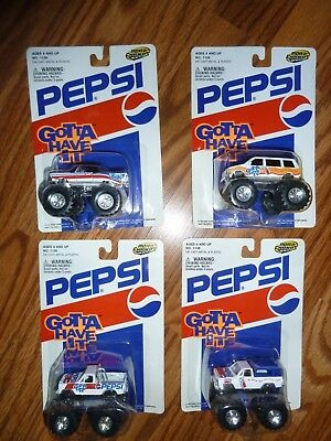 Lot of 4 different NIP Road Champs Pepsi Gotta Have It Monster Jam type cars