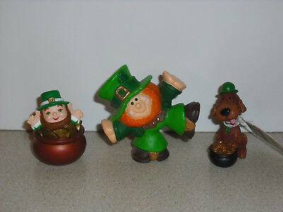 Hallmark Merry Miniatures St. Patrick's Lot '81 Leprechaun, 2016 Irish Dog RARE!