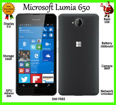 Microsoft Nokia Lumia 650 16GB 4G **UNLOCKED** BLACK/WHITE Windows Smartphone