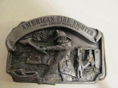 American Commemorative 1988 Fire Fighter Pewter Belt Buckle #3238