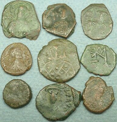 Lot Of 9 Smallbyzantine Bronze Coins