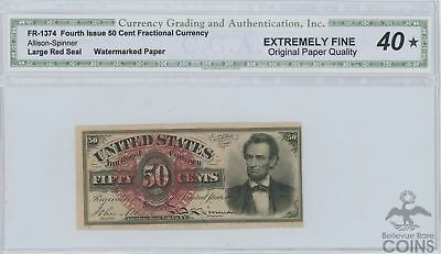 4th Issue Fractional Currency 50 Cents Lincoln EF40 by CGA (FR#1374)