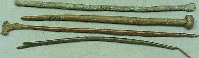 Lot Of 4 Ancient Bronze Medical / Cosmetic Tools