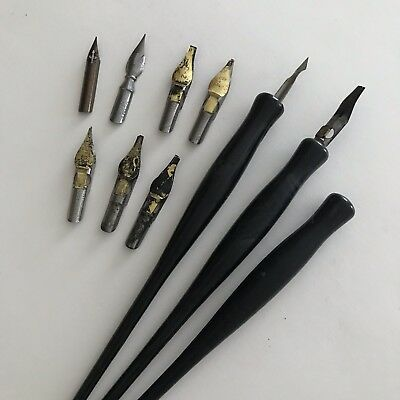 Vintage Calligraphy Pens and Tips Lot Assorted 12 Pieces