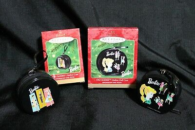"Hallmark Ornaments dated 2000 & 2001 BARBIE ""1962 & 1963 HATBOX CASES"" -Lot of 2"