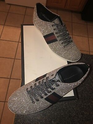 4952e753462 GUCCI METALLIC SILVER Glitter Web sneakers with Studs -  500.00 ...