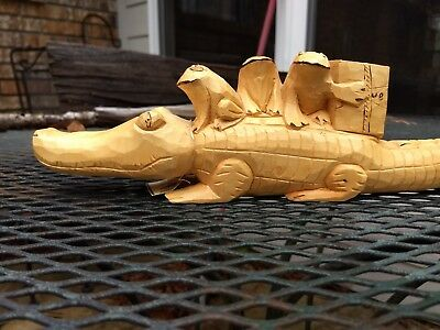 Hand Carved Wood Alligator With Frogs Budweiser Cherokee Indian