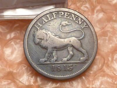 1813 British Copper Company Halfpenny Lion Token Plain Edge #A