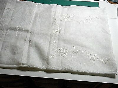 Vintage White Embroidered Handkerchief Linen?? Tablecloth Excellent