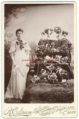 Young Woman and her Award Winning Floral Arrangements - c. 1890 - Portland, MI