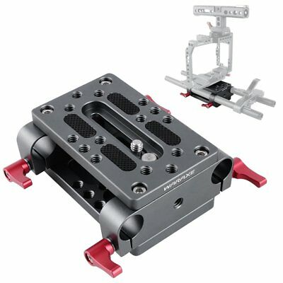 WARAXE Tripod Mount Plate Baseplate With 2x 15mm Rod Hole Clamp For Camera Rig