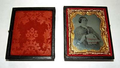 AMBROTYPE 1860's Woman Holding Color Tinted Basket / Purse with Case 9th Plate